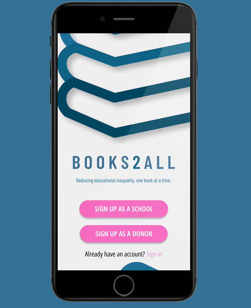 The Books2All app on a smart device.